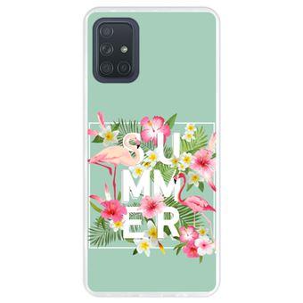 Capa Hapdey para Samsung Galaxy A71 | Silicone Flexível em TPU | Design Verão, flores tropicais com flamingos - Transparente
