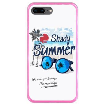 Capa Hapdey para iPhone 7 Plus - 8 Plus Design Shady Summer em Silicone Flexível e TPU Cor-de-Rosa