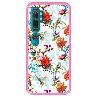 Capa Tpu Hapdey para Xiaomi Mi Note 10 - Note 10 Pro - Cc9 Pro   Design Teste Padrão Floral com Pássaros - Rosa