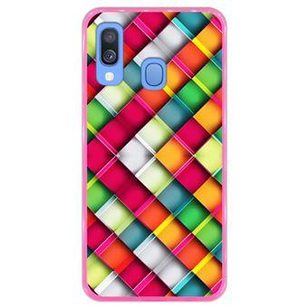 Capa Hapdey para Samsung Galaxy A40 2019 Design Abstrato Mosaicos Geométricos Modernos em Silicone Flexível e TPU Cor-de-Rosa