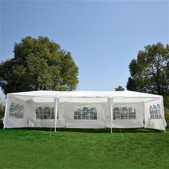 Tenda com Cobertura Gazebo Outsunny - Branco - 90g / m2 Armação de Metal - 9x3x2,55 m