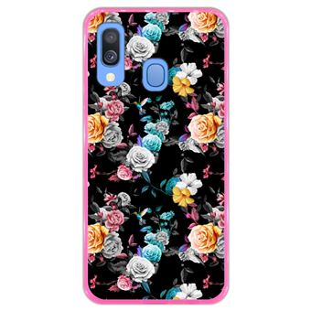 Capa Hapdey para Samsung Galaxy A40 2019 Design Floral Multicolorida em Silicone Flexível e TPU Cor-de-Rosa