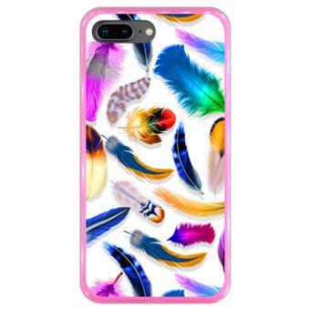 Capa Hapdey para iPhone 7 Plus - 8 Plus Design Penas Coloridas em Silicone Flexível e TPU Cor-de-Rosa