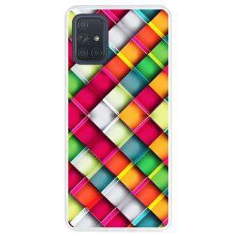 Capa Hapdey para Samsung Galaxy A71   Silicone Flexível em TPU   Design Abstrato, quadrado mosaico geométrico moderno - Transparente