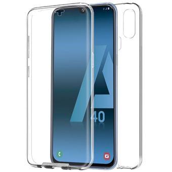 Capa Livro COOL em Silicone para 3D Samsung A405 Galaxy A40 Transparente Frontal + Traseira