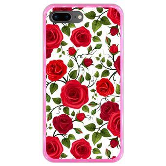 Capa Hapdey para iPhone 7 Plus - 8 Plus Design Rosas Vermelhas em Silicone Flexível e TPU Cor-de-Rosa