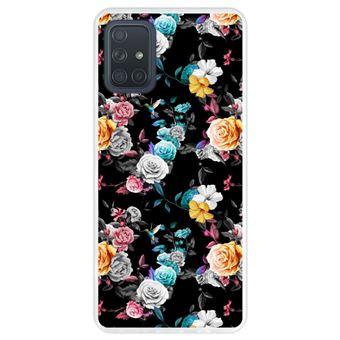 Capa Hapdey para Samsung Galaxy A71   Silicone Flexível em TPU   Design Teste padrão floral, flores multicoloridas - Transparente