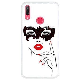 Capa Hapdey para Huawei Y7 2019 - Y7 Prime 2019 Design Mulher com Máscara e Lábios Vermelhos em Silicone Flexível e TPU