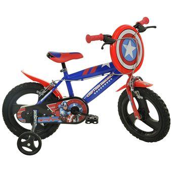 Bicicleta de Criança Dino Bikes Captain America | 14 Polegadas | Azul, Vermelho