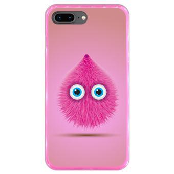 Capa Hapdey para iPhone 7 Plus - 8 Plus Design Monstro Peludo Cor-de-Rosa em Silicone Flexível e TPU Cor-de-Rosa