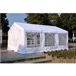 Pérgola Outsunny tipo Lona para Jardim   Branca- Aço Galvanizado e Tela de PE- 6 x 4 x 2,8 m