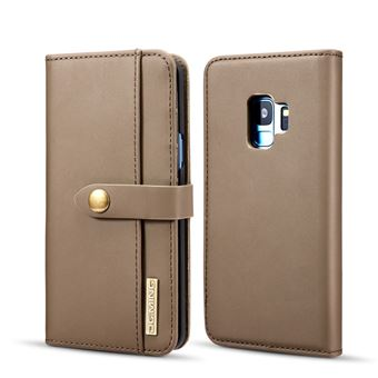 Capa PU Destacável 2-in-1 Desdobramento Castanho para Samsung Galaxy S9