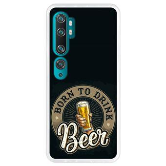 Capa Hapdey para Xiaomi Mi Note 10 - Note 10 Pro - CC9 Pro | Silicone Flexível em TPU | Design Saudações, nascido para beber cerveja - Transparente