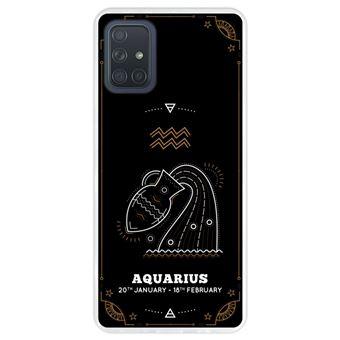 Capa Hapdey para Samsung Galaxy A71 | Silicone Flexível em TPU | Design Zodíaco Aquário - Transparente