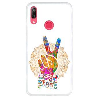 Capa Hapdey para Huawei Y7 2019 - Y7 Prime 2019 Design Mandala Amor e Paz em Silicone Flexível e TPU