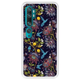 Capa Tpu Hapdey para Xiaomi Mi Note 10 - Note 10 Pro - Cc9 Pro | Design Teste Padrão Floral com Pássaros 2 - Transparente