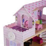 Casa de Bonecas HomCom com 13 Peças Madeira 3 Pisos 60x30x71.5cm