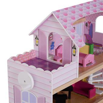 Casa de Bonecas HomCom | 13 Peças | Madeira | 3 Pisos | 60x30x71,5 cm