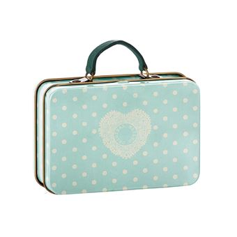 Caixa Maileg Suitcase Metal | Cream Mint Dots - Azul