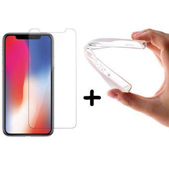 Conjunto Capa Gel TPU Silicone com Vidro Temperado Full Cover 3D Multi4you para Apple iPhone X  - Transparente