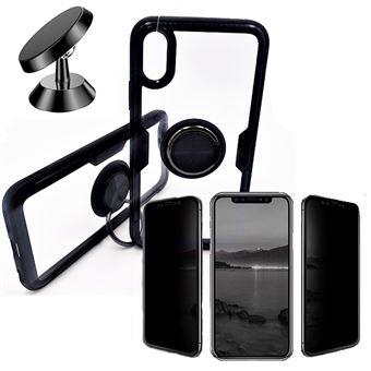 Kit Película 5D Anti paraSpy + Capa 3x1 Clear + Suporte Magnético Carro Phonecare para Iphone XR Preto