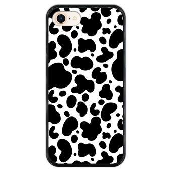 Capa Hapdey para iPhone 7 - 8 Design Padrão de Vaca em Silicone Flexível e TPU Preto