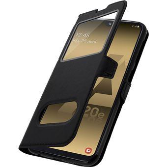 Capa Flip com janela dupla Avizar para Samsung Galaxy A20e Couro Preto