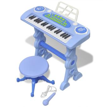 Piano brinquedo VidaXL com banco/microfone 37 teclas Azul