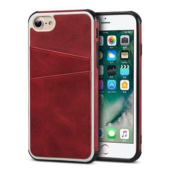 Capa Magunivers TPU + PU com Dois Titulares de Cartão Vermelho para iPhone 8/7/6
