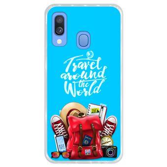 Capa Hapdey para Samsung Galaxy A40 2019 Design Travel Around The World em Silicone Flexível e TPU