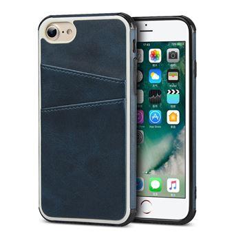Capa Magunivers TPU + PU com Dois Titulares de Cartão Azul para iPhone 8/7/6