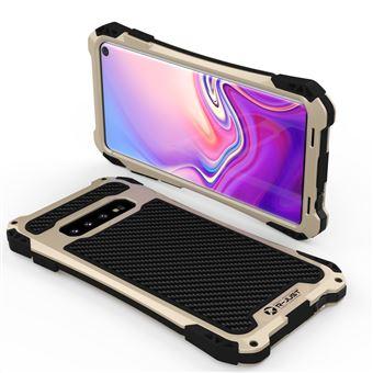Capa Magunivers de TPU Fibra de Carbono Anti-Queda Ouro/Preto para Samsung Galaxy S10