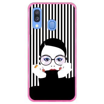Capa Hapdey para Samsung Galaxy A40 2019 Design Mulher Pop Art em Silicone Flexível e TPU Cor-de-Rosa