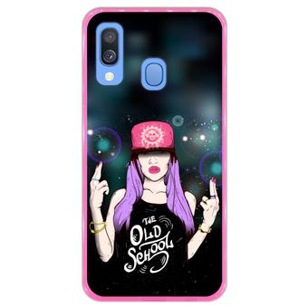 Capa Hapdey para Samsung Galaxy A40 2019 Design The Old School em Silicone Flexível e TPU Cor-de-Rosa
