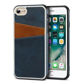 Capa Magunivers TPU + PU Cores Duplas com Dois Titulares de Cartão Azul Escuro para iPhone 8/7/6