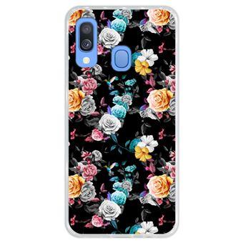 Capa Hapdey para Samsung Galaxy A40 2019 Design Floral Multicolorida em Silicone Flexível e TPU