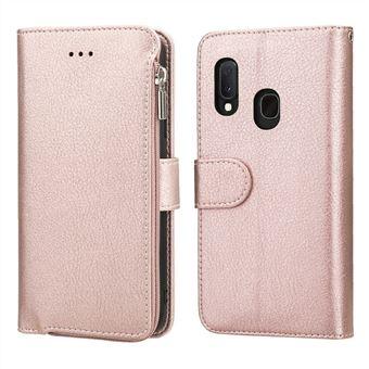 Capa Magunivers Pu Bolso com Zíper de Microfibra Ouro Rosa para Samsung Galaxy A20E