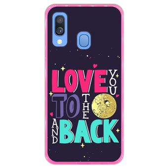 Capa Hapdey para Samsung Galaxy A40 2019 Design Love You to the Moon and Back em Silicone Flexível e TPU Cor-de-Rosa
