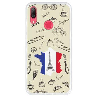 Capa Hapdey para Huawei Y7 2019 - Y7 Prime 2019 Design Torre Eiffel, Mapa e Bandeira de França em Silicone Flexível e TPU
