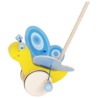 Goki 54995 Madeira Azul, Madeira, Amarelo brinquedo de puxar