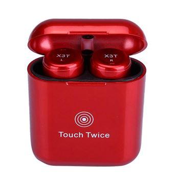 Auriculares Bluetooth Magunivers X3T CSR TWS Compacto Touch Control sem Fios Hi-Fi com Caixa de Carga Vermelho