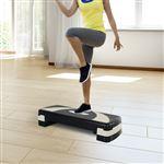 Step Fitness HOMCOM | Plástico | 76x29x12.5-22,5 cm - Preto e Cinzento