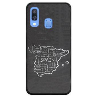 Capa Hapdey para Samsung Galaxy A40 2019 Design Mapa Desenhado à Mão de Espanha em Silicone Flexível e TPU Preto