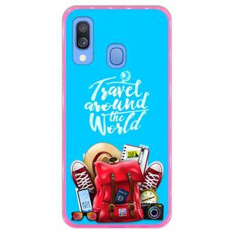 Capa Hapdey para Samsung Galaxy A40 2019 Design Travel Around The World em Silicone Flexível e TPU Cor-de-Rosa