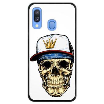 Capa Hapdey para Samsung Galaxy A40 2019 Design Caveira Gangster em Silicone Flexível e TPU Preto