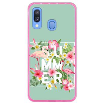 Capa Hapdey para Samsung Galaxy A40 2019 Design Flores Tropicais com Flamingos em Silicone Flexível e TPU Cor-de-Rosa
