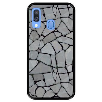 Capa Tpu Hapdey para Samsung Galaxy A40 2019 | Design Mosaico de Parede de Pedra Abstrato e Moderno - Preto