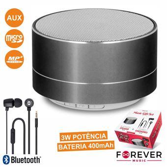 Conjunto Coluna Bluetooth Portátil 3W e Auscultadores Stereo Forever Preto