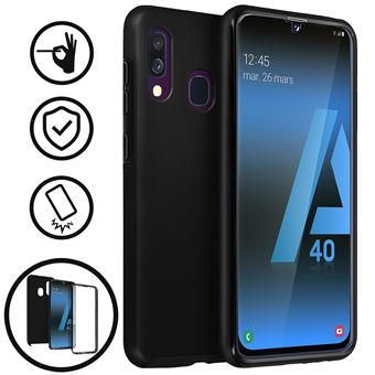 Capa Flip Avizar para Samsung Galaxy A40 360ª de Silicone e policarbonato Preto