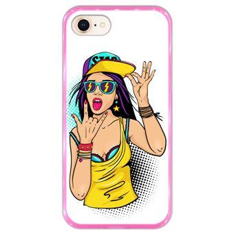 Capa Hapdey para iPhone 7 - 8 Design Adolescente Sexy em Silicone Flexível e TPU Cor-de-Rosa